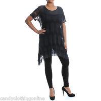Ladies Lagenlook Net Crochet Top Dress Tunic Summer Loose XXL Plus Size 10 24