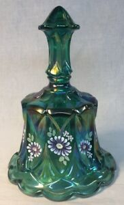 Fenton-Art-Glass-Hand-Painted-Spruce-Carnival-Whitton-Bell-1999