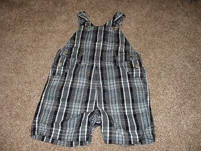 Gymboree Baby Boys Navy Blue Plaid Shortalls Size 18-24 Months mos Summer Shorts