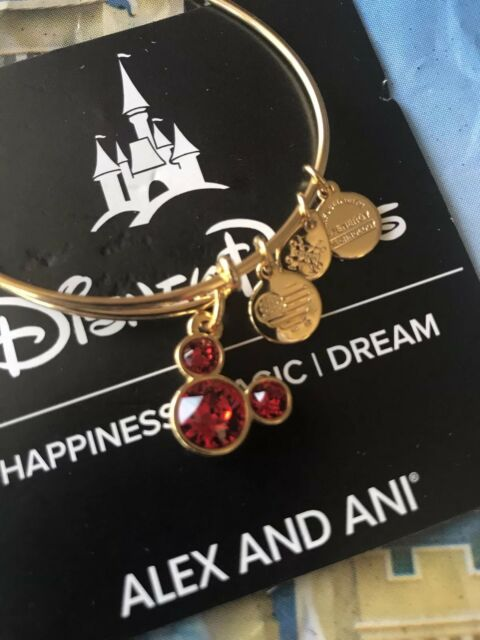 b9d33b2f5 Disney Mickey Mouse Birthstone Bangle by Alex and Ani July Gold Finish New
