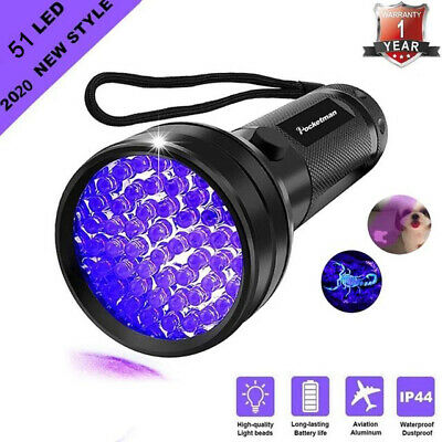 UV LED Flashlight 51LEDs UV Light Blacklight 395nm Ultraviolet Torch Detector