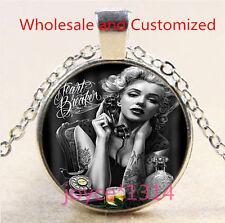 Marilyn Monroe Cabochon Tibetan silver Glass Chain Pendant Necklace #4837