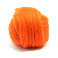 50g DYED MERINO WOOL TOP PUMPKIN ORANGE DREADS 64's SPINNING FELTING ROVING