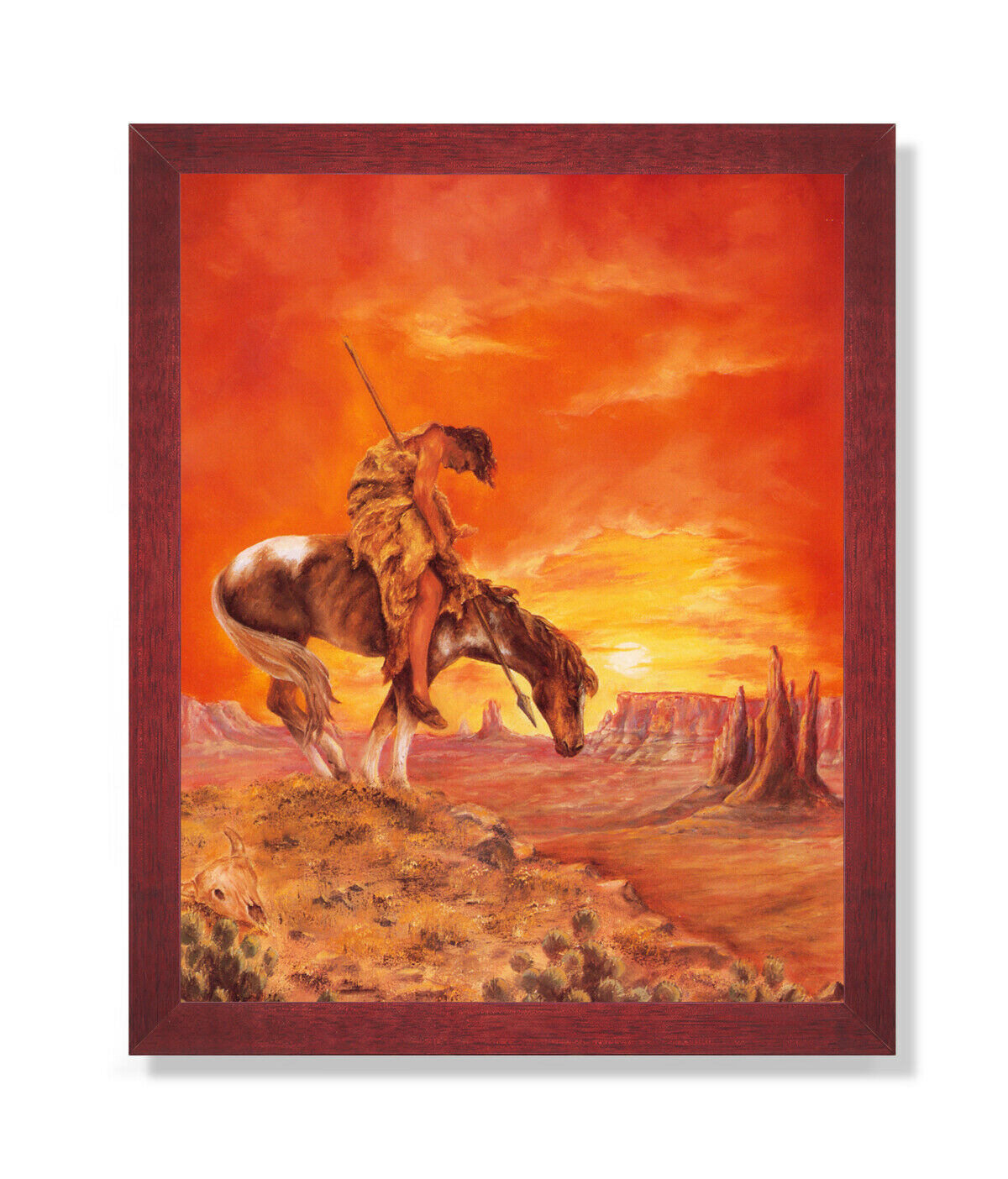 End Of The Trail American Indian On Horse Wall Picture Cherry Framed Art Print