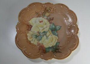 Bavaria-Tirschenreuth-Germany-Porcelain-Floral-Plate-Yellow-Roses