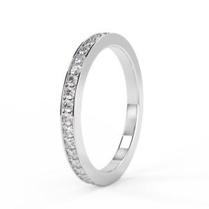 RRP  D VS 1 3Ct Round Diamond Pave Set Full Eternity Ring in 18k White gold