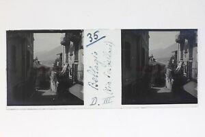 Bellagio Via Serbelloni Italia Foto Stereo T2L9n42 Placca Da Lente Vintage