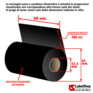 Ribbon-H-60-mm-x-300-m-ink-out-WAX-Nastro-carbongrafico-a-base-cera-per-stamp