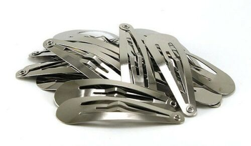 50 PCS Snap Hair Clips Silver Metal Tear Drop Shape Snap Hair Clip in 3 Sizes