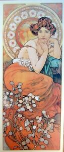 art-print-TOPAZ-Alphonse-Mucha-tall-lady-nouveau-deco-mosaic-vtg-repro-13x30