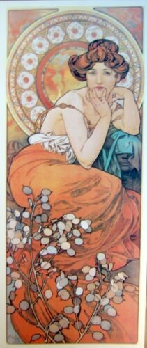 art print~TOPAZ~Alphonse Mucha tall lady nouveau deco mosaic vtg repro 13x30