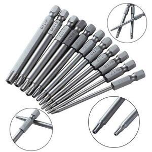 Torx Screwdriver Bits Set S2 Steel 1//4 Inch Hex Shank Star Head Drill Bits Hot