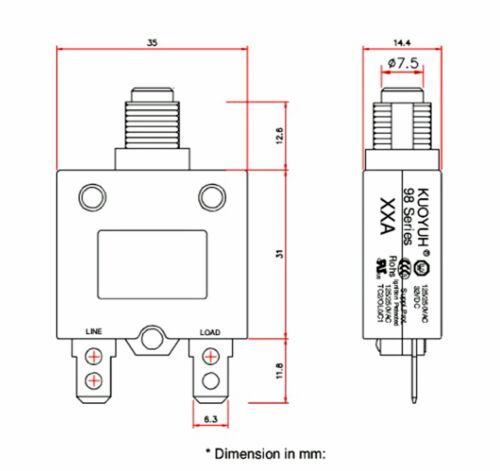 2pc 10A Circuit Breaker 98 series 32VDC 125//250VAC KUOYUH Taiwan UL CSA TUV VDE