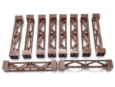 Lego X10 Reddish Brown Support 2x2x10 Girder Triangular Vertical Parts
