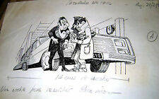 LEON POCH ORIGINAL ART CRIME MYSTERY SKETCH 2 PATORUZU MAG ARGENTINA 60's
