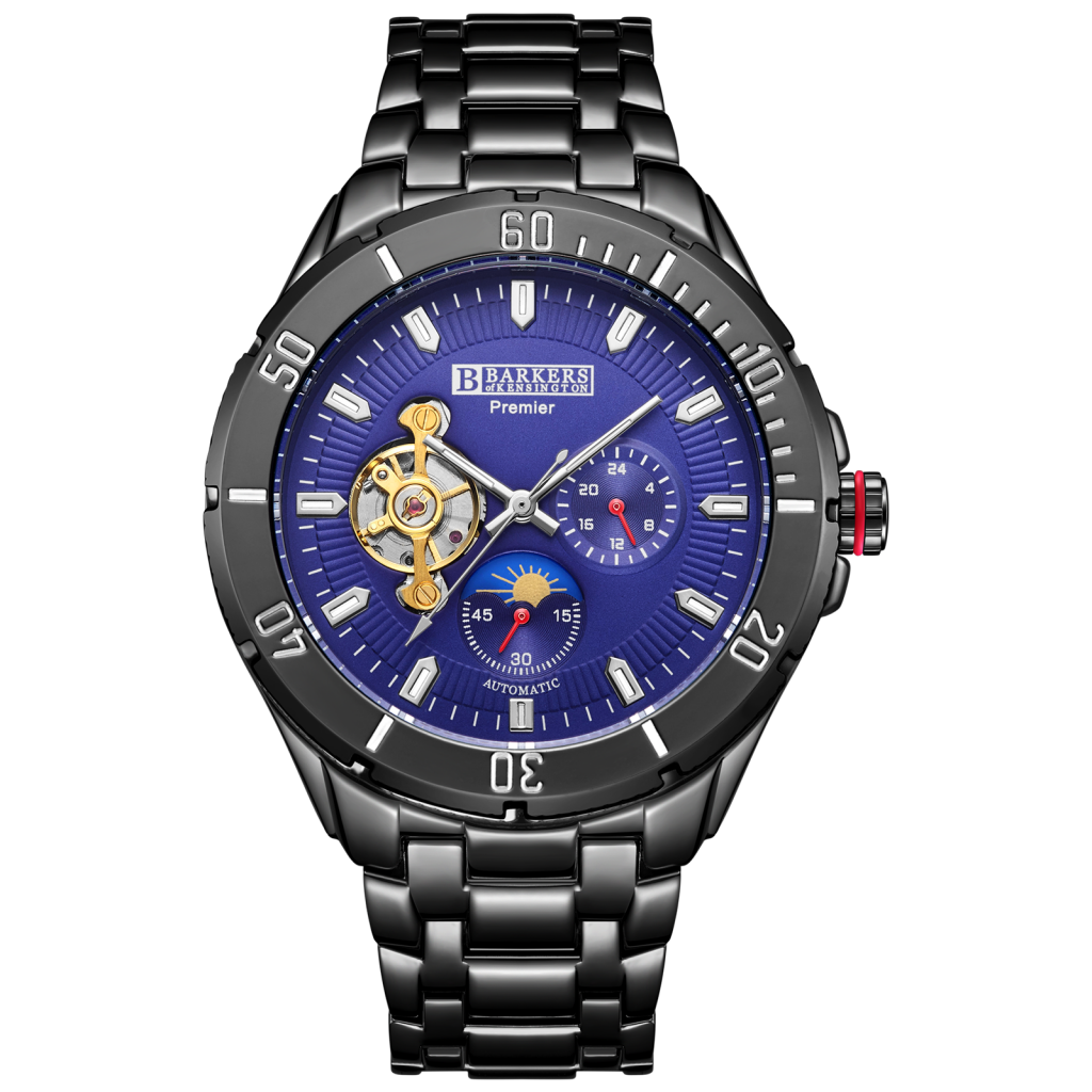 ✲SRP B.K Blau SKELETON AUTOMATIC  Herren WATCH, WATCH, Herren Wrnty, Tag & Em Boss Box✲2 ff279a