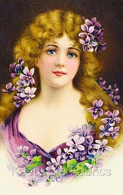 Victorian Lady Violets Quilt Block Multi Sizes FrEE ShiPPinG WoRld WiDE (V19