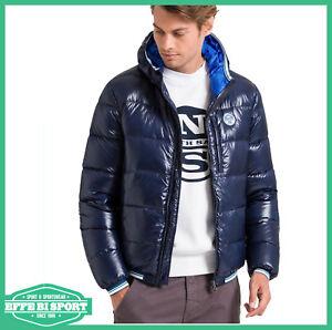 designer fashion c60f5 87ad6 Dettagli su Giacca invernale uomo North Sails giaccone con cappuccio  giubbotto bomber blu
