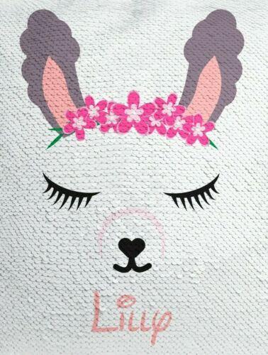 Personalised SEQUIN Reveal Drawstring BAG Unicorn//Flamingo//Llama//Penguin//Minnie