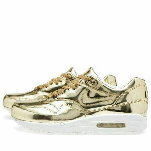 NIKE AIR MAX 1 GOLD SP SIZE UK 7 EUR 41 LIQUID METALLIC SP SILVER METAL BNIB