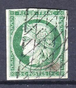 FRANCE-STAMP-TIMBRE-N-2-c-034-CERES-15c-VERT-TRES-FONCE-034-OBLITERE-A-VOIR-P663