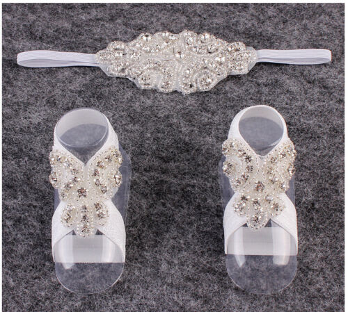 Newborn Baby Girl Kids Infant Headband Crystal Foot Flower Hair Band AccessoriQY