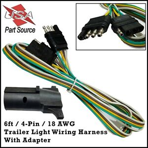 details about 6ft trailer light wiring harness 4 pin flat plug wire connector 72\