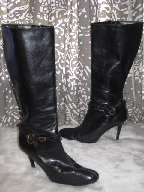 COLIN Größe STUART Größe COLIN 8.5 schwarz Leder Knee High Stiefel Stiletto Pointed ... aa7b24
