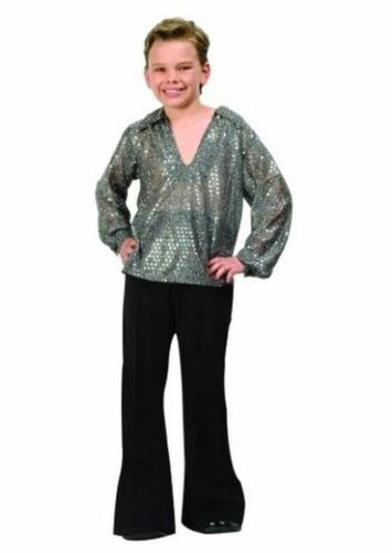 3 Sizes Disco Fever Child Costume Gold or Silver Top Black Pants