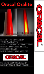 """12/"""" x 5 ft RED Reflective Vinyl Adhesive Cutter Sign Made in USA Oracal Oralite"""