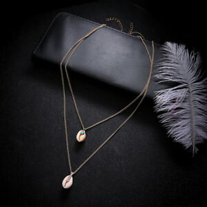 Female-Fashion-Boho-Double-Layer-Shell-Pendant-Choker-Necklace-Jewelry-Z