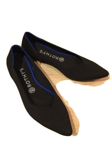 """Rothys """"The Point"""" BLACK Solid Knit Black Flats -"""