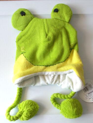 "Green Frog Animal Knit Fleece 16/"" Hat Child Costume Hat 5-8 NWT"
