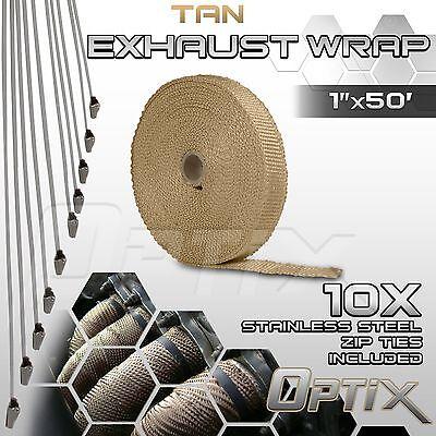 "1"" x 50' Motorcycle Protection Header Exhaust Heat Tape Wrap + Ties - Tan (G)"