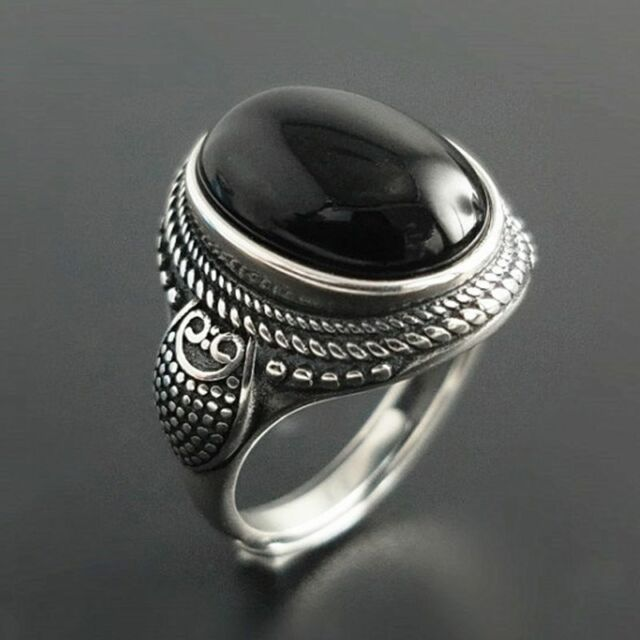 Pure Sterling Silver Natural Black Onyx Stone Rings For ...