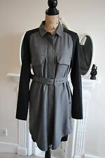 BNWT SEE BY CHLOE Grey Black Shirt Dress 14 L 46 Long Sleeves Tunic Large Belt