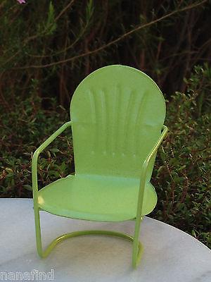 Miniature Dollhouse FAIRY GARDEN Furniture ~ Green Metal Glider Chair ~ NEW