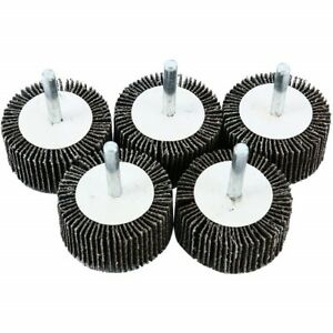 """Lot Of 5 Flap Wheels  2/"""" X 1-1//2/"""" X 1//4/"""" Mounted 120 Grit New"""