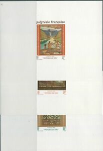 French-Polynesia-1988-SG532-534-Tapa-Paintings-set-proofs-MNH