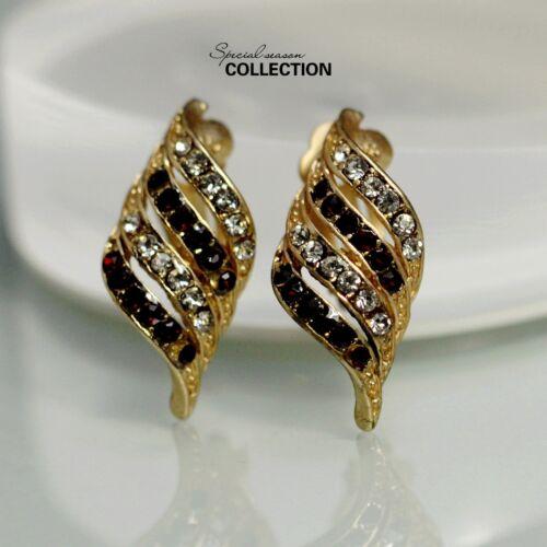 Ohrringe Mode Clip Golden Burgunderrot Kristall Spiralförmig Jahrgang J1