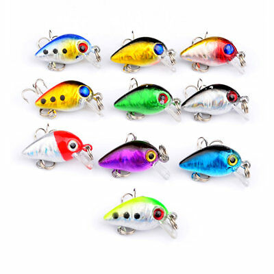 Small Floating Fishing Lures Crank-baits Treble Hook Crank Baits Tackle-Bass//