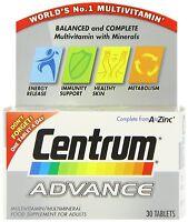 CENTRUM ADVANCE A TO ZINC  MULTIVITAMIN  30 TABLETS