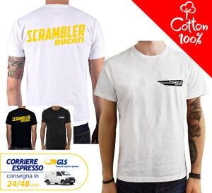 T-Shirt-Ducati-Scrambler-uomo-Maglia-moto-nera-cotone-100-maglietta