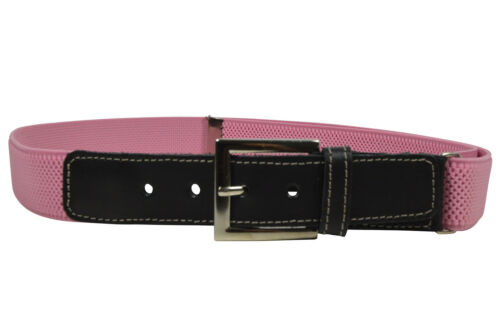 Childrens 5-15 Yrs Adjustable Elasticated Belt with Leather Fittings Kids Belts