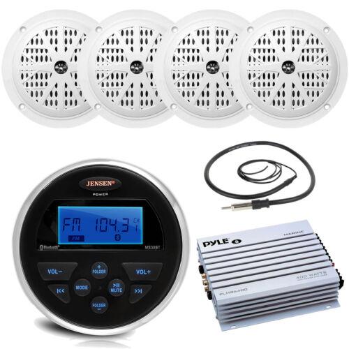"Bluetooth USB AUX Marine Radio 4 White 5.25/"" Speakers 400W Amplifier Antenna"