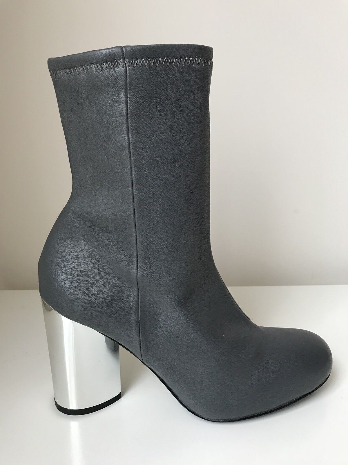 OPENING CEREMONY WOMENS DYLAN STRETCH LEATHER BOOT - GREY