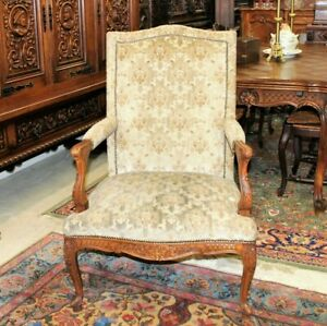 French-Antique-Louis-XV-Upholstered-Armchair-c-1880s