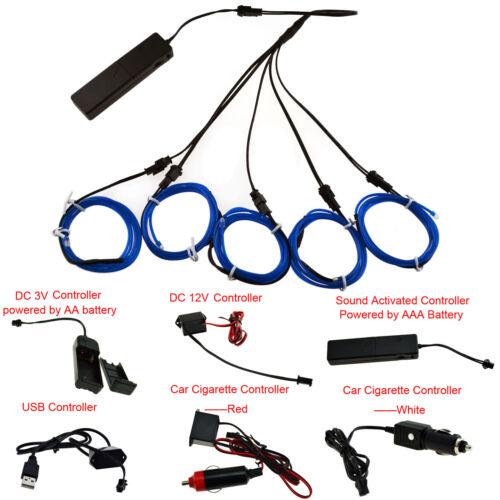 Controller 5 x 1M 4 x 1M 3 x 1M 2x 1M EL Wire Neon LED Light Glow String Strip