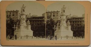 Monumento A Cristoforo Colombo Genoa Italia Foto Stereo Vintage Albumina