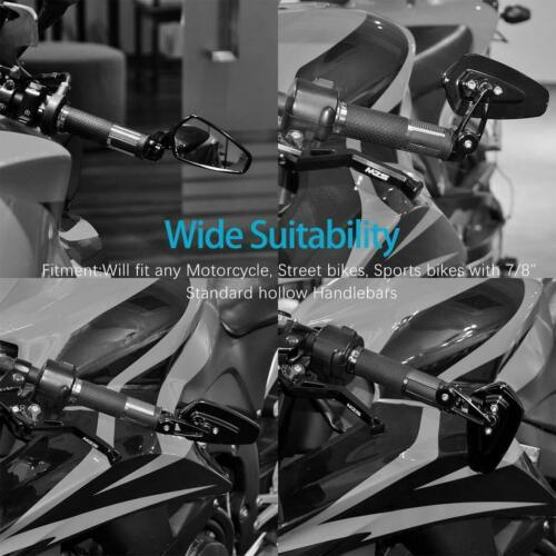 """Motorcycle 7//8/"""" Bar End Rearview Mirrors For Honda Kawasaki Yamaha KTM Ducati US"""